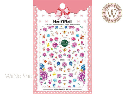 Purple Embroidery Flower Adhesive Nail Art Sticker - 1 pc (HY-123)