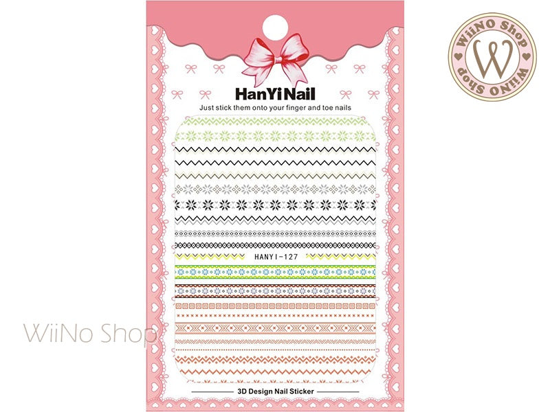 Winter Sweater Pattern Adhesive Nail Art Sticker - 1 pc (HY-127)