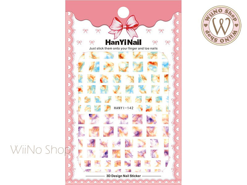Blue Purple Marble Square Adhesive Nail Art Sticker - 1 pc (HY-142)