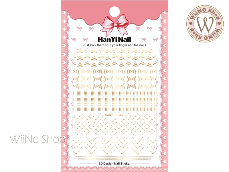 Gold Dots Pattern Adhesive Nail Art Sticker - 1 pc (HY-146)