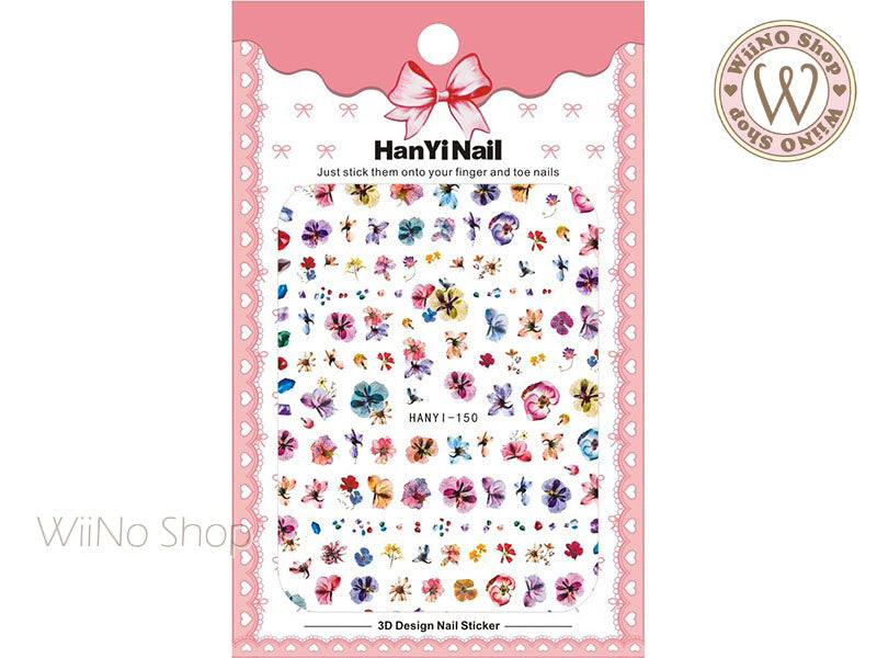 Pressed Flower Style Adhesive Nail Art Sticker - 1 pc (HY-150)