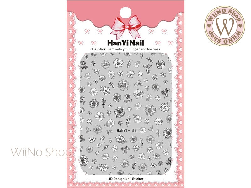 Hand Drawn Flower Adhesive Nail Art Sticker - 1 pc (HY-156)