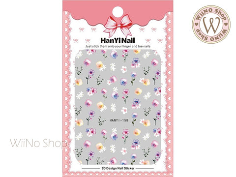 Watercolor Pansy Flower Adhesive Nail Art Sticker - 1 pc (HY-158)
