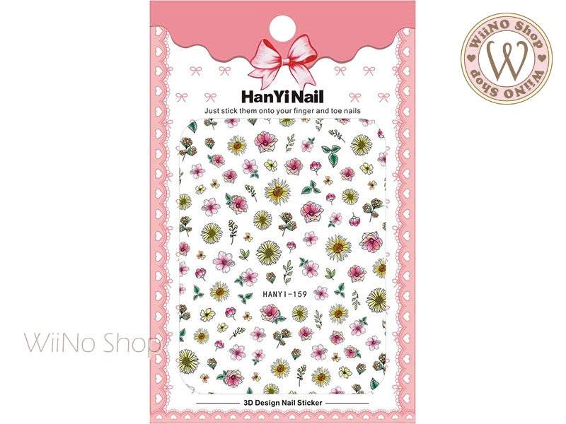 Hand Drawn Flower Adhesive Nail Art Sticker - 1 pc (HY-159)