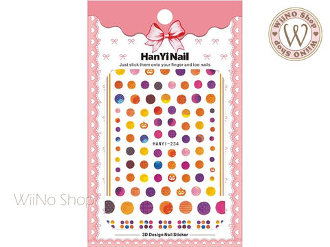 Watercolor Dots Adhesive Nail Art Sticker - 1 pc (HY-234)