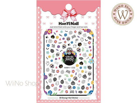Cute Skeleton Head Adhesive Nail Art Sticker - 1 pc (HY-235)