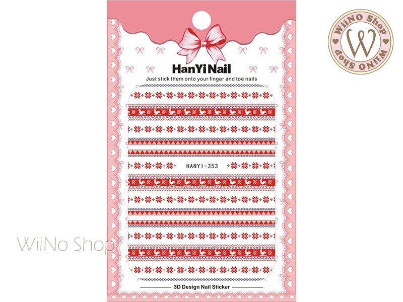 Winter Sweater Pattern Adhesive Nail Art Sticker - 1 pc (HY-353)
