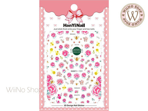 Pink Embroidery Flower Adhesive Nail Art Sticker - 1 pc (HY-131)