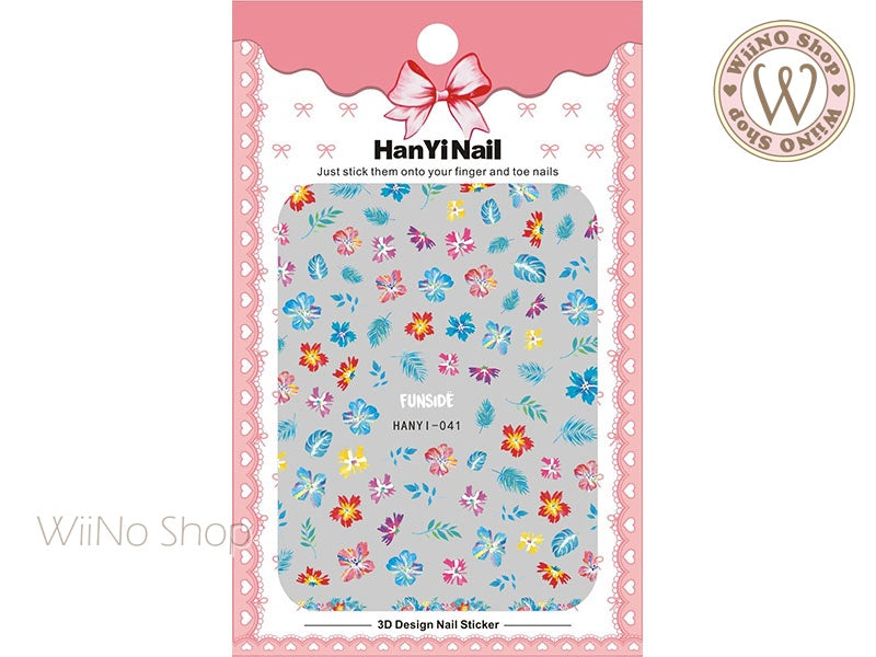 Colorful Hibiscus Adhesive Nail Art Sticker - 1 pc (HY-041)