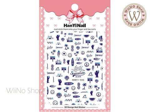 Blue Summer Icon Adhesive Nail Art Sticker - 1 pc (HY-045)