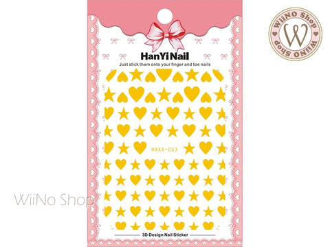Gold Heart Star Adhesive Nail Art Sticker - 1 pc (HAXX-053)