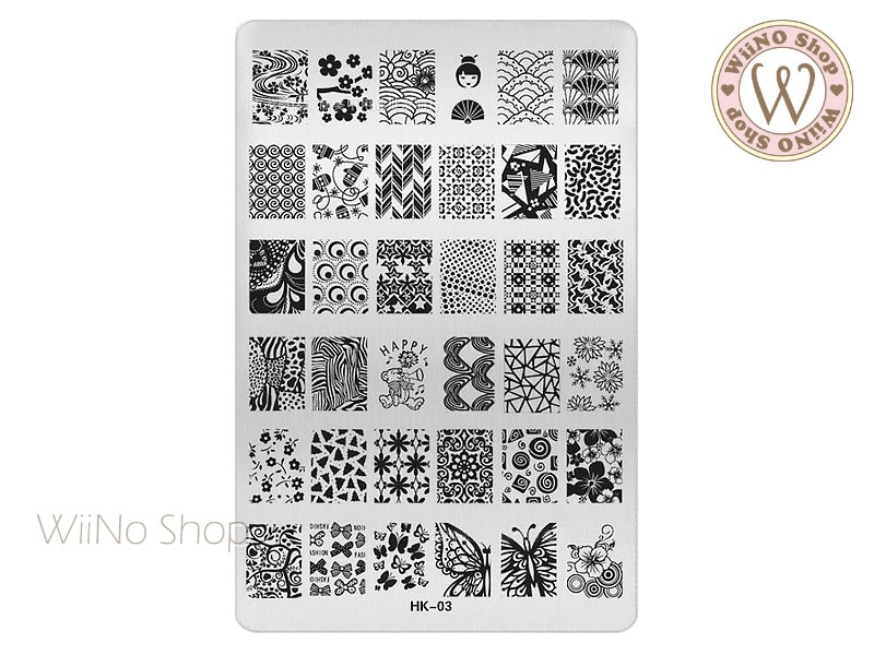HK-03 Nail Art Stamping Plate Template