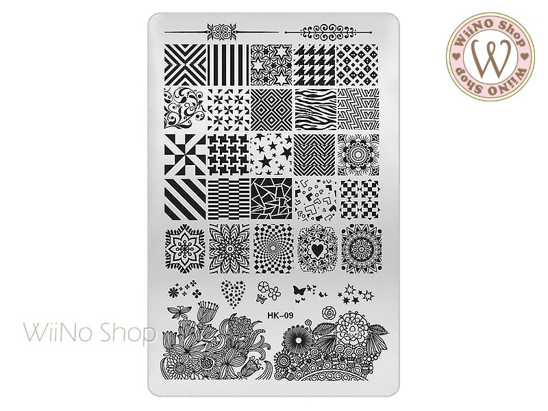 HK-09 Nail Art Stamping Plate Template