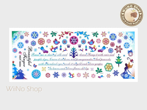 Snowflakes Christmas Colorful Water Slide Nail Art Decals - 1pc (HOT-002)