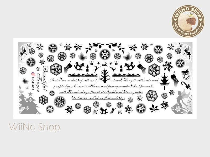Snowflakes Christmas Black Water Slide Nail Art Decals - 1pc (HOT-003)