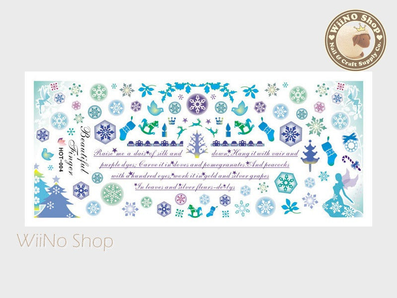 Snowflakes Christmas Blue Water Slide Nail Art Decals - 1pc (HOT-004)