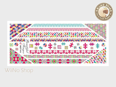 Retro Puzzle Pop Style Pattern Water Slide Nail Art Decals - 1pc (HOT-010)