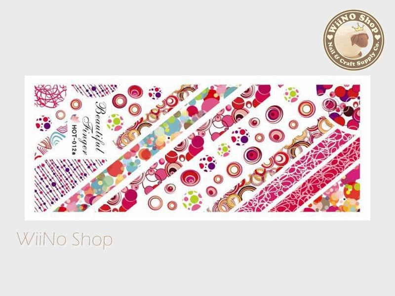 Retro Red Circle Pop Style Pattern Water Slide Nail Art Decals - 1 pc (HOT-012)