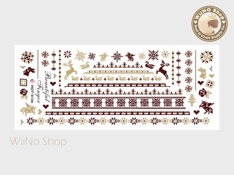 Winter Knit Style Brown Pattern Water Slide Nail Art Decals - 1pc (HOT-013)