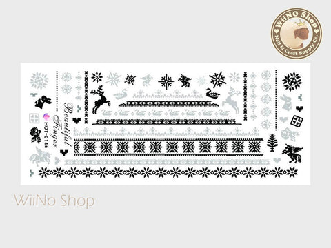 Winter Knit Style Gray Pattern Water Slide Nail Art Decals - 1pc (HOT-014)