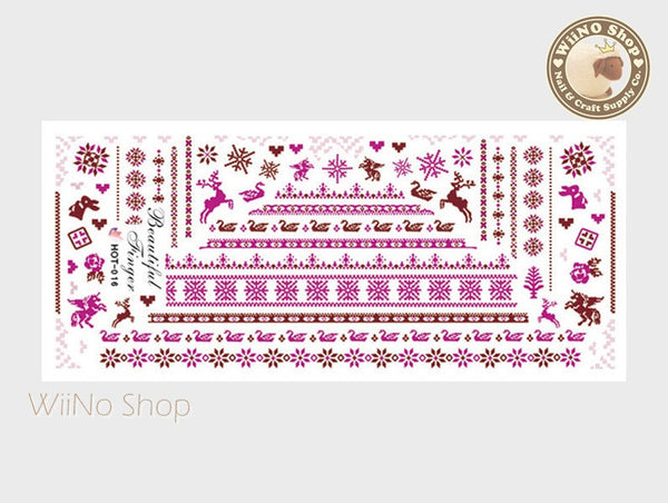 Winter Knit Style Pattern Purple Water Slide Nail Art Decals - 1pc (HOT-016)