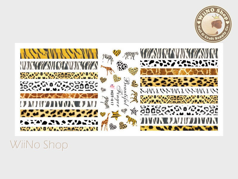Leopard Zebra Animal Pattern Water Slide Nail Art Decals - 1pc (HOT-017)