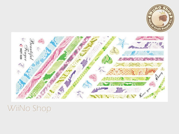 Snake Skin Pattern Colorful Water Slide Nail Art Decals - 1pc (HOT-020)