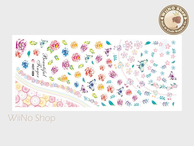 Peony Flower Water Slide Nail Art Decals - 1pc (HOT-029)