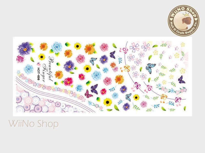 Spring Flower Water Slide Nail Art Decals - 1pc (HOT-030)