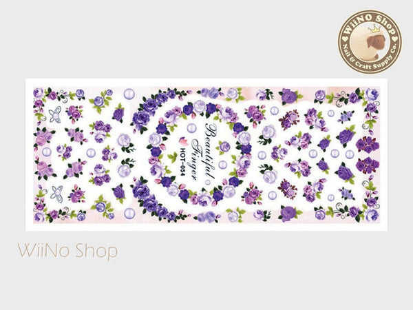 Purple Rose Bouquet Water Slide Nail Art Decals - 1pc (HOT-054)