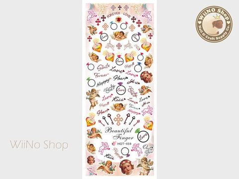 Cupid Love Vintage Water Slide Nail Art Decals - 1pc (HOT-059)