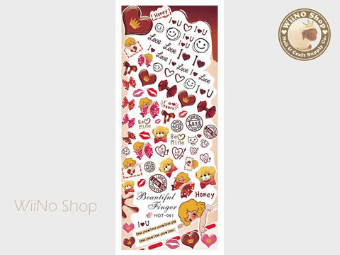 Sweet Chocolate Valentine Water Slide Nail Art Decals - 1pc (HOT-061)