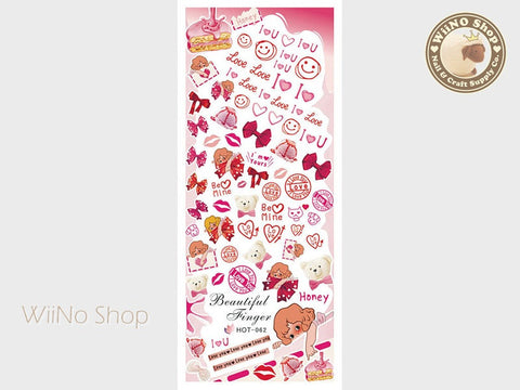 Sweet Strawberry Valentine Water Slide Nail Art Decals - 1pc (HOT-062)