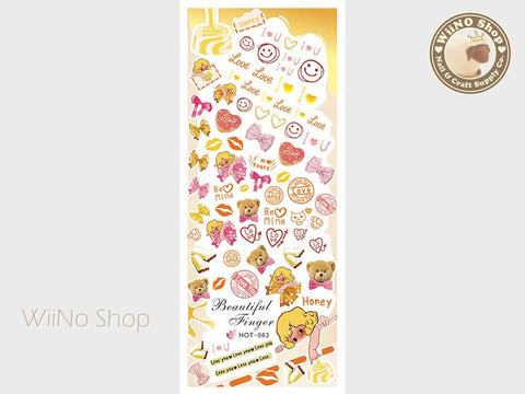 Sweet Caramel Valentine Water Slide Nail Art Decals - 1pc (HOT-063)