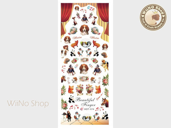 Vintage Dog Animal Carnival Water Slide Nail Art Decals - 1pc (HOT-074)