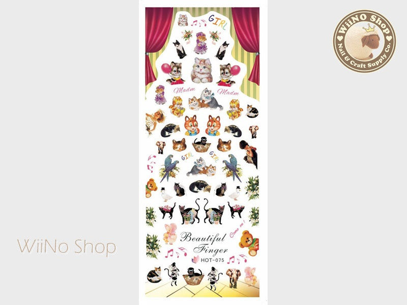 Vintage Kitty Cat Animal Carnival Water Slide Nail Art Decals - 1pc (HOT-075)