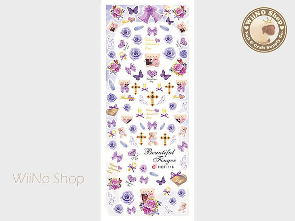 Purple Rose Bear Valentine Water Slide Nail Art Decals - 1pc (HOT-116)