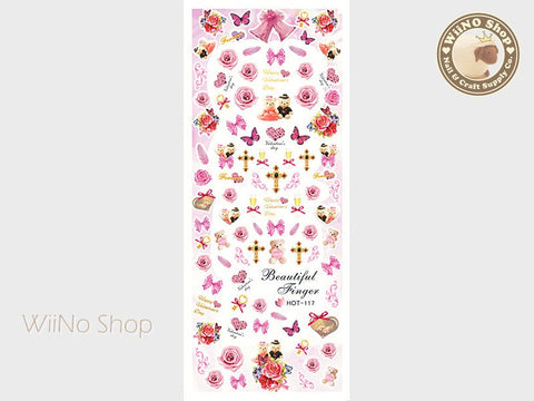 Pink Rose Bear Valentine Water Slide Nail Art Decals - 1pc (HOT-117)