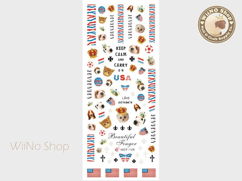 Keep Calm and Carry On Cat Dog USA Water Slide Nail Art Decals - 1pc (HOT-126)