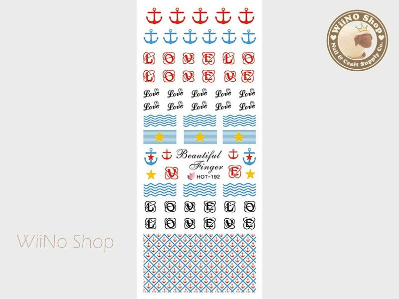 Anchor Pattern Water Slide Nail Art Decals - 1pc (HOT-192)