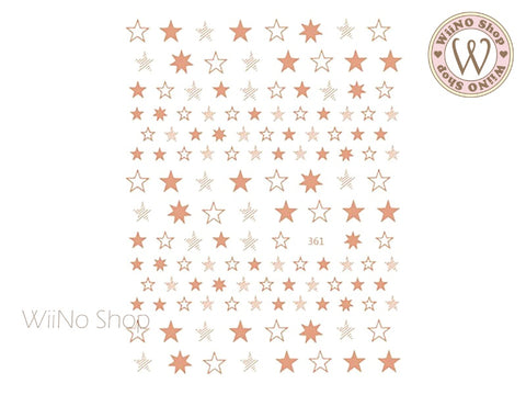 Rose Gold Star Adhesive Nail Art Sticker - 1 pc (JO-361)