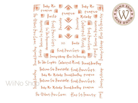 Rose Gold Handwritten Letter Adhesive Nail Art Sticker - 1 pc (JO-365)