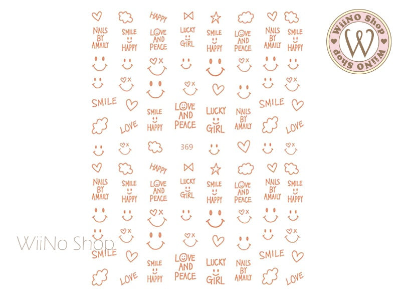 Rose Gold Happy Face Adhesive Nail Art Sticker - 1 pc (JO-369)