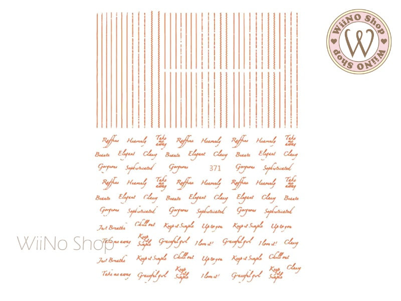 Rose Gold Letter & Line Adhesive Nail Art Sticker - 1 pc (JO-371)