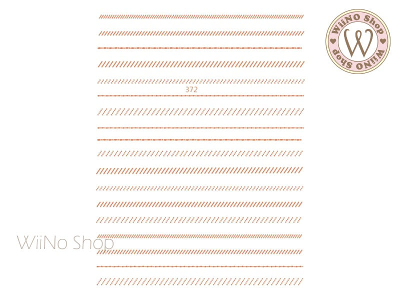 Rose Gold Dotted Slash Line Adhesive Nail Art Sticker - 1 pc (JO-372)