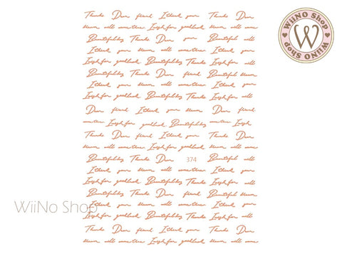 Rose Gold Handwritten Letter Adhesive Nail Art Sticker - 1 pc (JO-374)