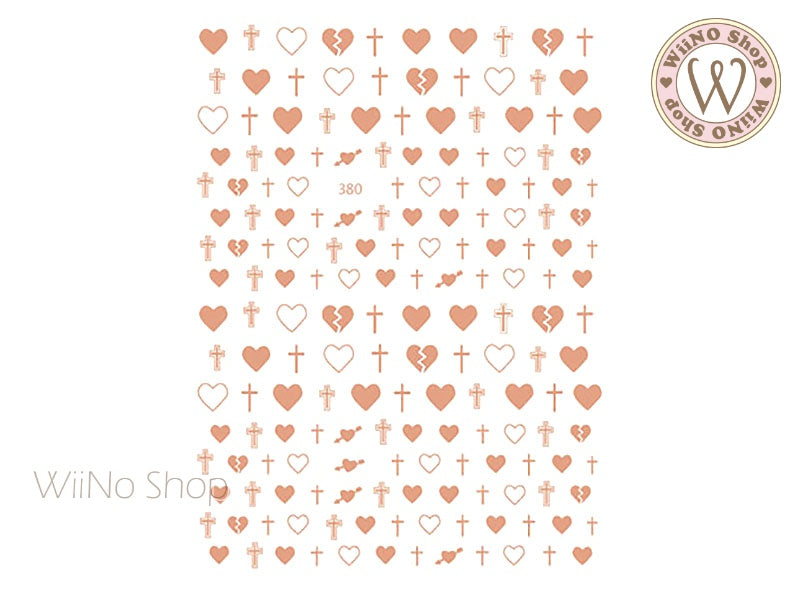 Rose Gold Cross Heart Adhesive Nail Art Sticker - 1 pc (JO-380)