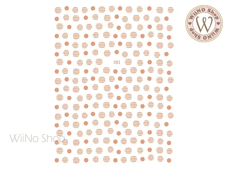 Rose Gold Round Dots Adhesive Nail Art Sticker - 1 pc (JO-381)