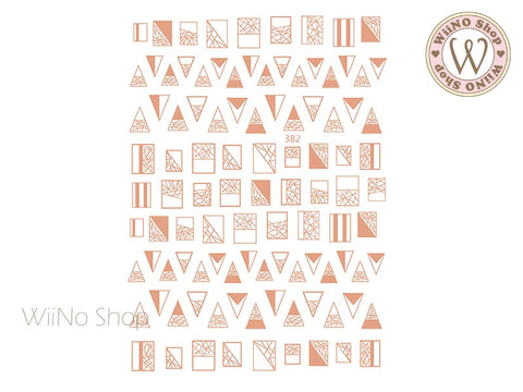 Rose Gold Pattern Geometry Adhesive Nail Art Sticker - 1 pc (JO-382)