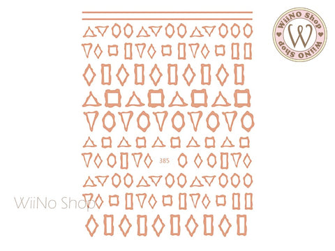 Rose Gold Frame Adhesive Nail Art Sticker - 1 pc (JO-385)